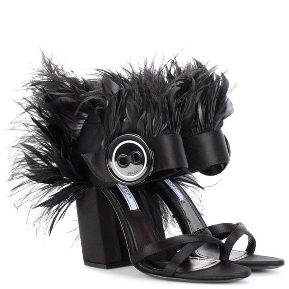 02011515db2 PRADA Feather Trimmed Satin Black Sandals Heels. M 5a693b1e9a9455ad030e7add